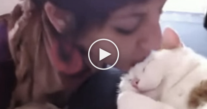She Kisses Her Kitty, But The Response She Gets…Just TOO Priceless, Awww!!