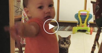 Baby Talks To Her Tabby Cat Friend, But You've Gotta Hear The Cat's Response, OMG!
