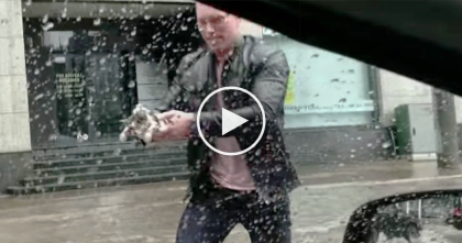 They Notices A Drowning Kitten In The Driving Rain, Now Watch What Happens When He Stops The Car…