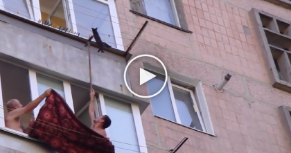 Kitten Crying For Help, Hanging For Dear Life On Clothesline Nearly Falls, But Then… WOW.