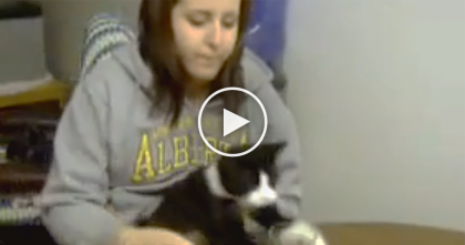 She's Trying To Drink A Glass Of Water, But Keep Your Eyes On The Cat… Omg, It's TOO Funny!!