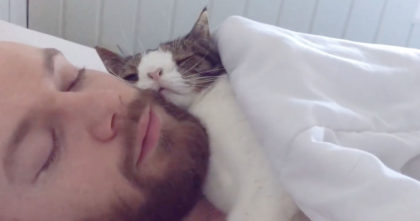 He adopted an unwanted shelter, but when you see their bedtime routine… Sweetest thing ever!!